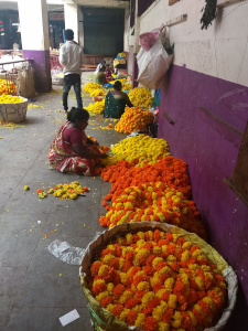 Bloemenmarkt in Bengalore